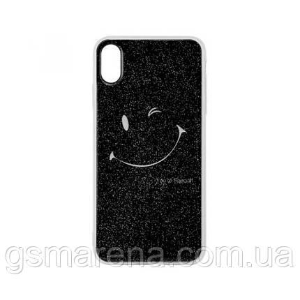 Чехол силиконовый Glue Case Smile shine iPhone X, XS Черный, фото 2
