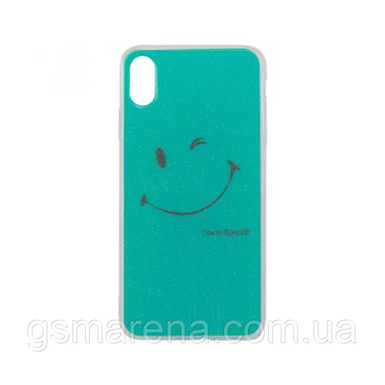 Чехол силиконовый Glue Case Smile shine iPhone XS Max Бирюзовый