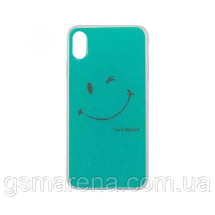 Чехол силиконовый Glue Case Smile shine iPhone XS Max Бирюзовый, фото 2