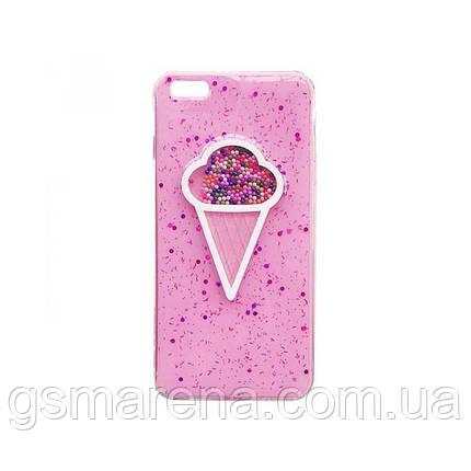 Чехол силиконовый Ice cream Apple iPhone 6, 6S Розовый, фото 2