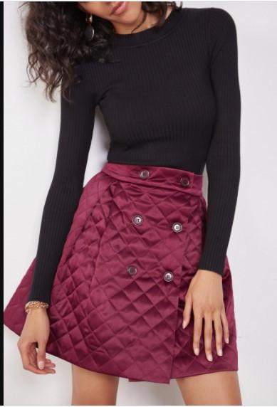 Стеганая юбка короткая бордо ( размеры 40-54 XS-XXL)
