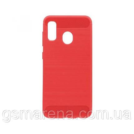 Чехол силиконовый Polished Carbon Samsung A20 (2019) A205, A30 (2019) A305 Красный, фото 2