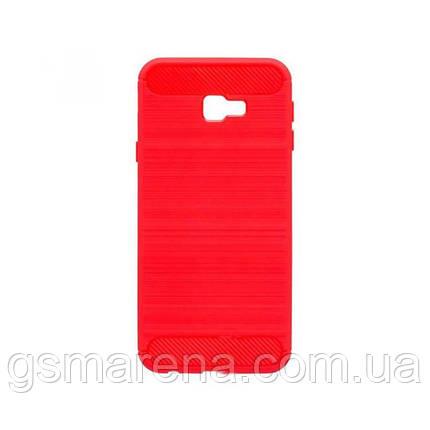 Чехол силиконовый Polished Carbon Samsung J4 Plus (2018) J415 Красный, фото 2