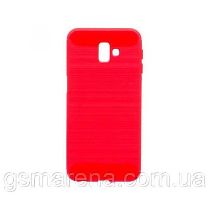 Чехол силиконовый Polished Carbon Samsung J6 Plus (2018) J610 Красный, фото 2