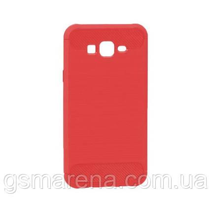 Чехол силиконовый Polished Carbon Samsung J7 (2015) J700, J7 Neo J701 Красный, фото 2