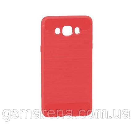 Чехол силиконовый Polished Carbon Samsung J7 (2016) J710 Красный, фото 2