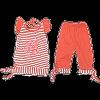Детский летний костюмчик комплект для девочки: туника с коротким рукавом и капри; кулир лето ТМ Виктория 104,