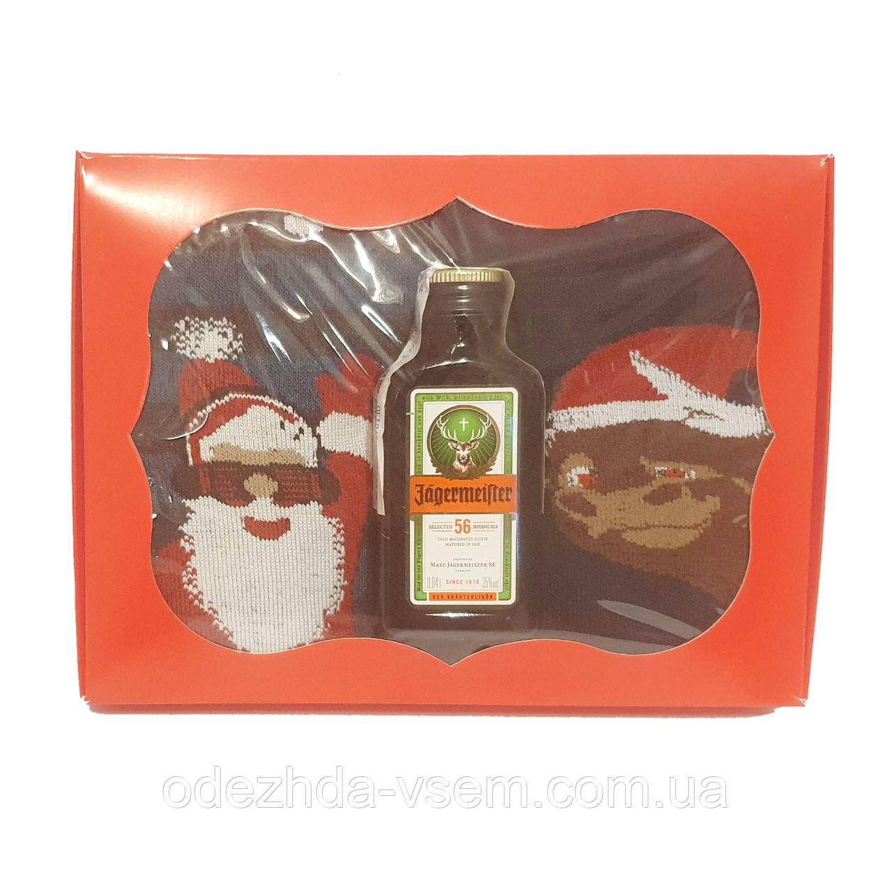 Новорічний подарунок: міні Jagermeister + 2 пари махрових шкарпеток