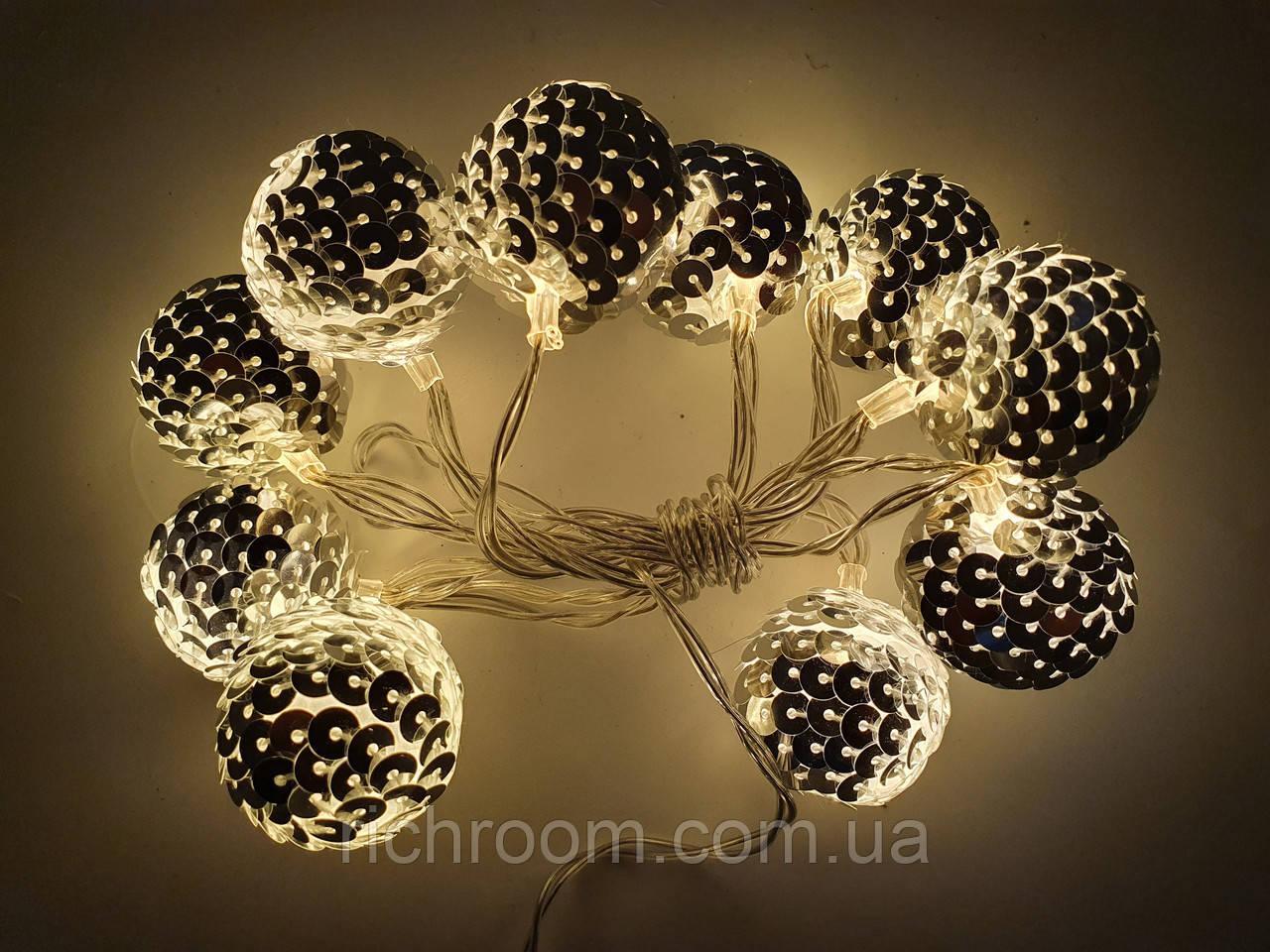 Світлодіодна LED гірлянда з кульками Діаметром 3 см, 10 шт., 140 см Edeka на батарейках