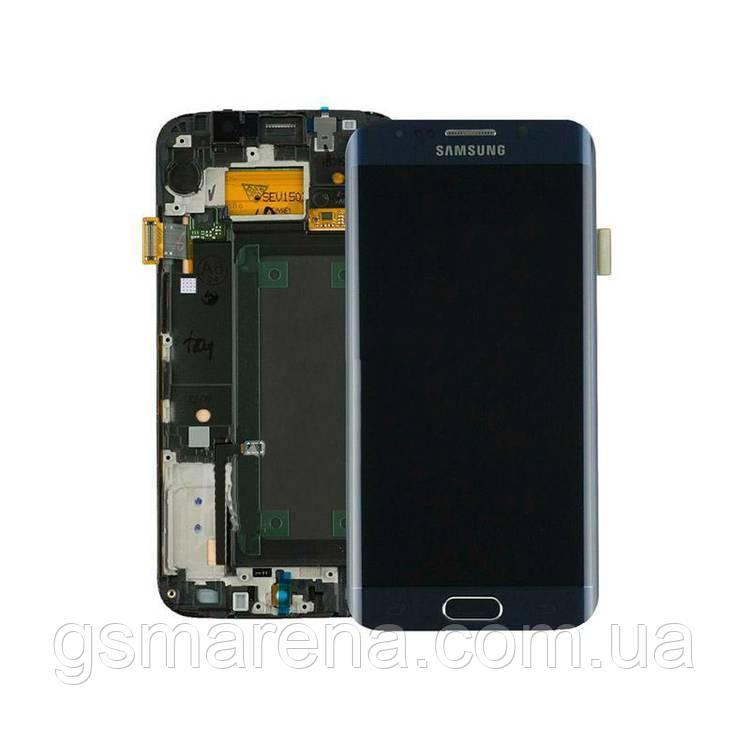 Дисплей модуль Samsung G925F S6 Edge saphire Черный (с рамкой) (Сервисный модуль)