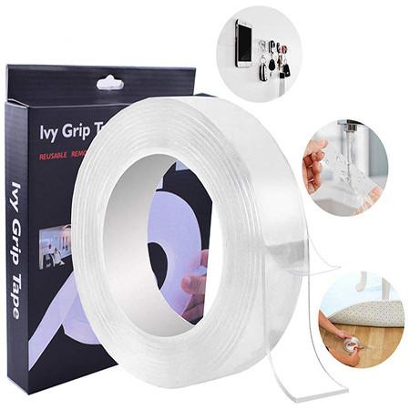 Многоразовая крепежная лента гелиевая на любые поверхности UKC Ivy Grip Tape 2 м прозрачная