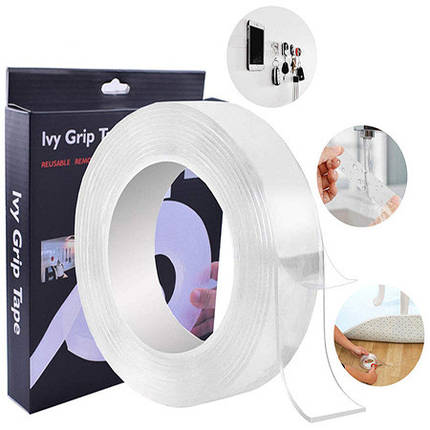 Многоразовая крепежная лента гелиевая на любые поверхности UKC Ivy Grip Tape 2 м прозрачная, фото 2