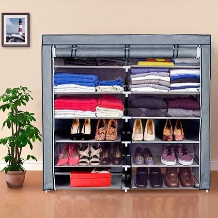 Шкаф тканевый обувной НСХ T-2712 на 12 полок, серый