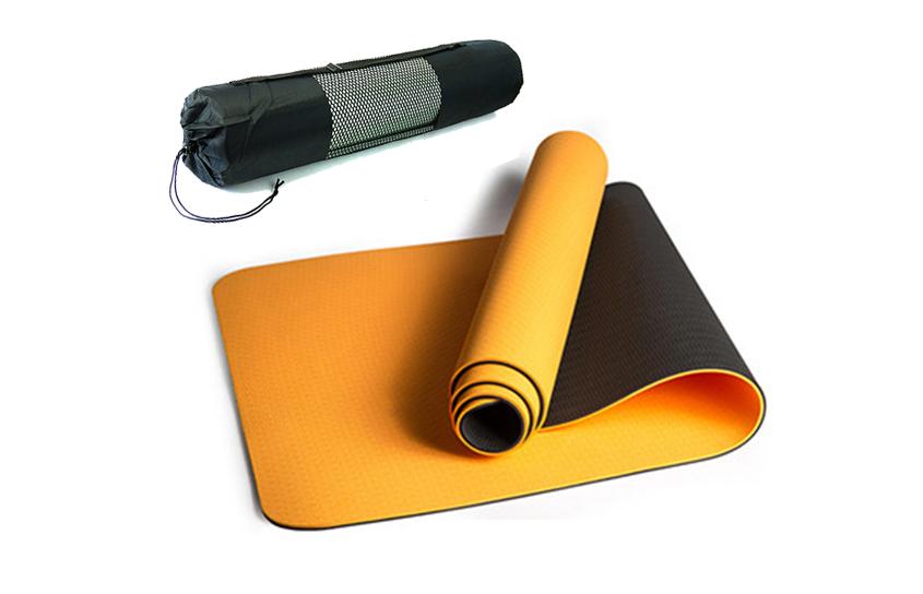 Коврик для йоги и фитнеса 6 мм Оригинал TPE+TC, двухслойный + Подарок. Цвет, черно-оранжевый