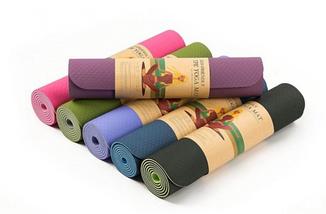 Коврик для йоги и фитнеса 6 мм Оригинал TPE+TC, двухслойный + Подарок. Цвет, черно-оранжевый, фото 3