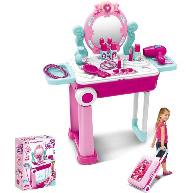 Трюмо детское в чемодане So Beauty, розовое