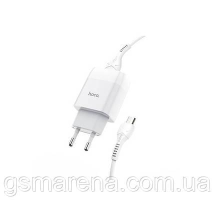 Зарядное устройство Hoco C72A Glorious 2.1A 1USB + кабель Micro Белый, фото 2