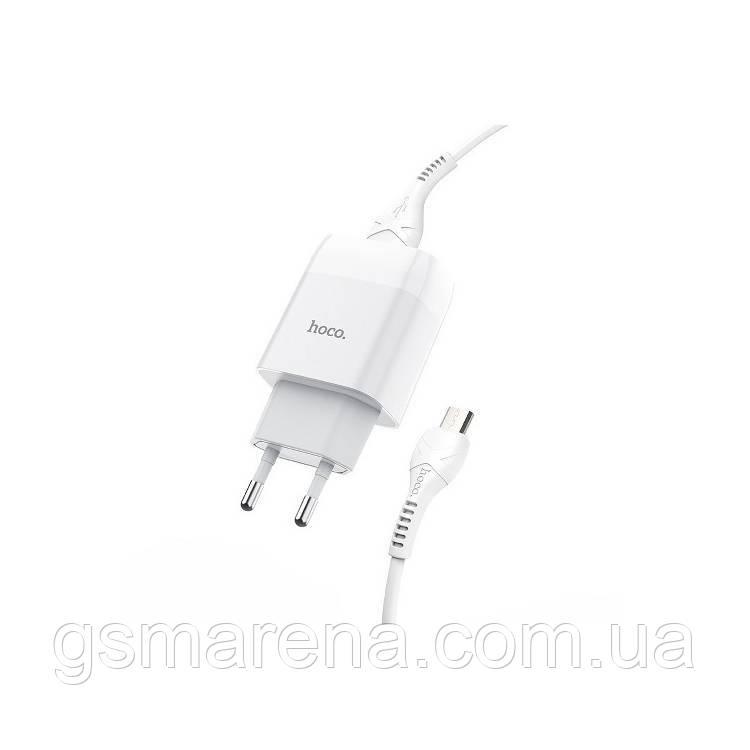 Зарядное устройство Hoco C72A Glorious 2.1A 1USB + кабель Micro Белый