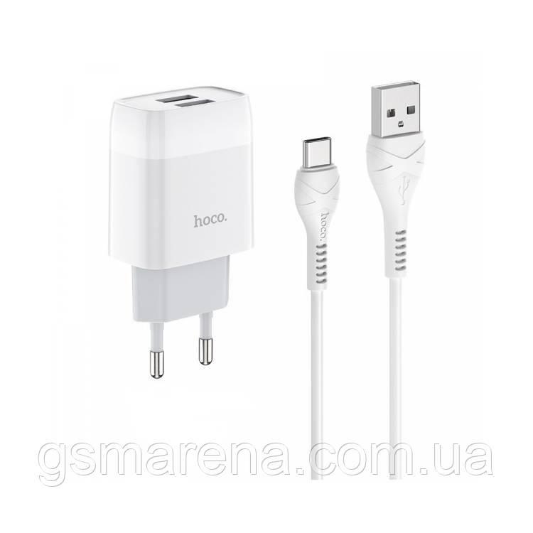 Зарядное устройство Hoco C73A Glorious 2.4A 2USB + кабель Type-C Белый
