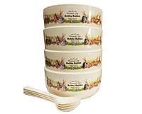 Набор детских тарелок с ложечками Bobby Rabbit 12,4х5,7см