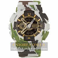 Кварцевые часы на кожаном ремешке Casio G-shock GA-110 Camouflage green gold