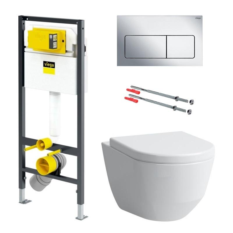 Комплект: PRO Rimless унитаз подвесной, с сиденьем + PREVISTA DRY элемент для унитаза 112*49см + комплект