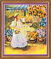 """Набор для вышивания бисером на художественном холсте """"Маленькая цветочница"""""""