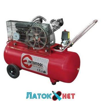 Компрессор 100л 8атм 500л/мин 220В PT-0014 Intertool 3кВт 4HP 2 цилиндра
