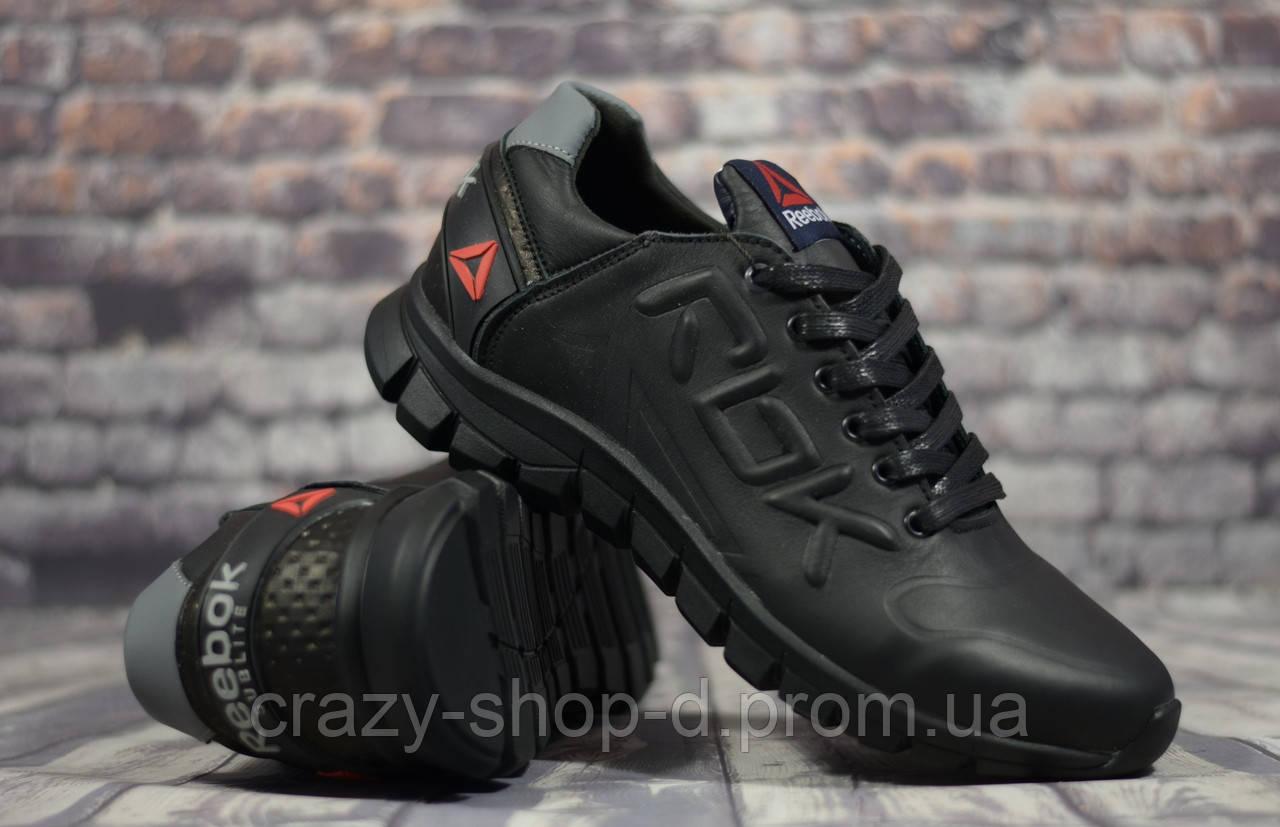 Кроссовки чёрные кожаные мужские Reebok