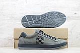 Мужские кеды серые Off-White кожаные на шнуровке, фото 5