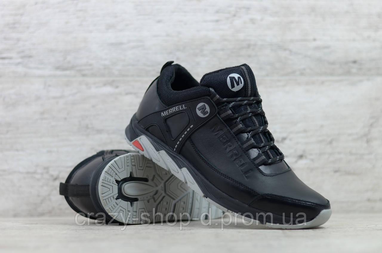 Мужские кожаные кроссовки Merrell чёрные