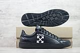 Кеды мужские спортивные кожаные чёрные Off White, фото 3