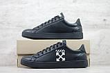 Кеды мужские спортивные кожаные чёрные Off White, фото 5