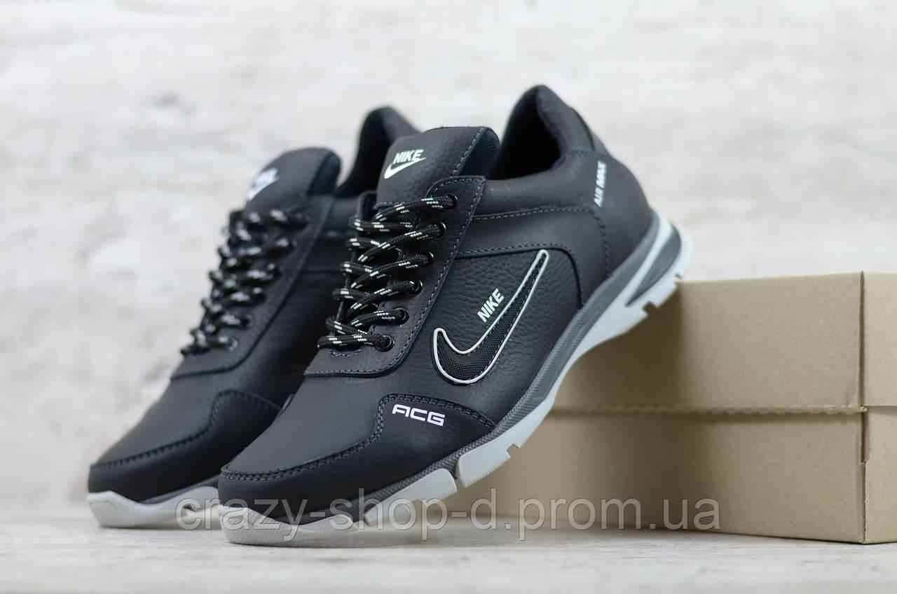 Кроссовки мужские кожаные Найк Nike черные на шнуровке
