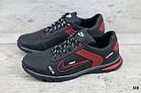 Мужские кожаные кроссовки Nike чёрные с красным на шнуровке, фото 3