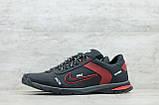 Мужские кожаные кроссовки Nike чёрные с красным на шнуровке, фото 4