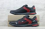 Мужские кожаные кроссовки Nike чёрные с красным на шнуровке, фото 5