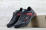 Мужские кожаные кроссовки Nike чёрные с красным на шнуровке, фото 2