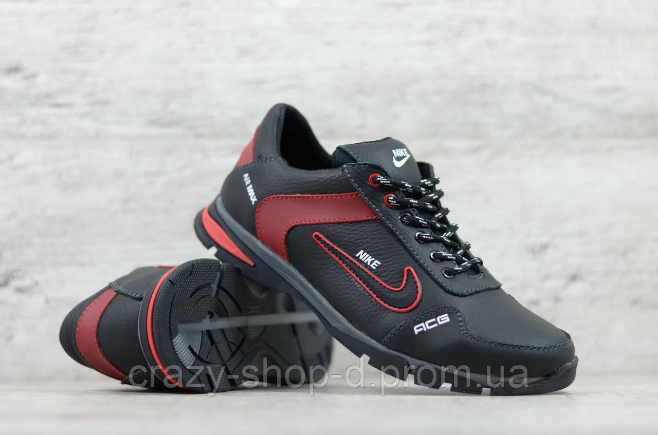 Мужские кожаные кроссовки Nike чёрные с красным на шнуровке