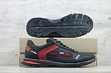 Мужские кожаные кроссовки Nike чёрные с красным на шнуровке, фото 6