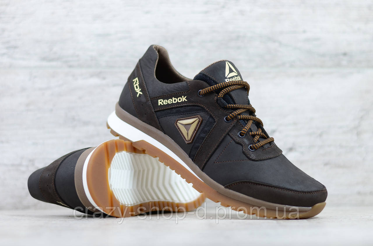 Мужские кожаные кроссовки Reebok Classic Brown на шнуровке