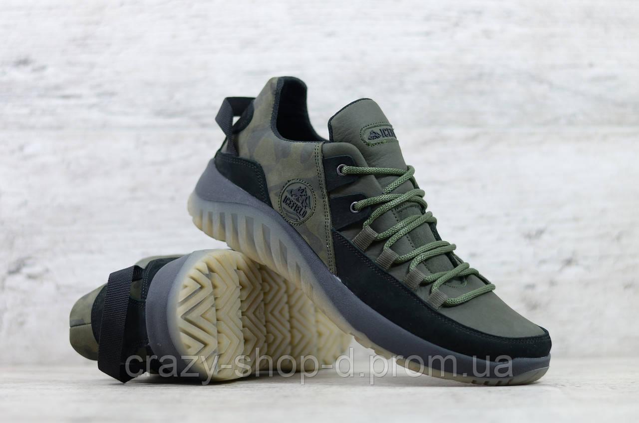 Кроссовки мужские кожаные хаки на шнуровке IceField зелёные