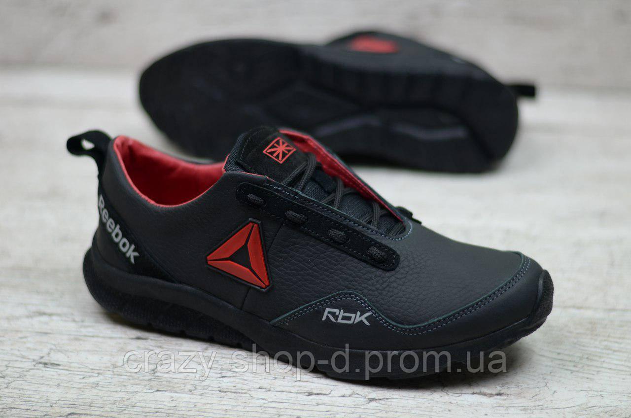 Мужские кожаные кроссовки чёрные на шнуровке Reebok