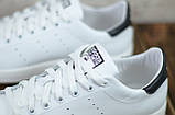 Мужские кожаные кеды белые Adidas Stan Smith на шнуровке, фото 3