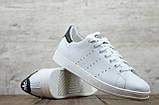 Мужские кожаные кеды белые Adidas Stan Smith на шнуровке, фото 4