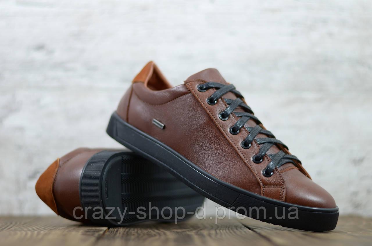 Кеды мужские кожаные коричневые на чёрной подошве на шнуровке чёрной