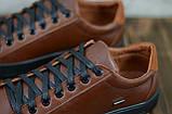 Кеды мужские кожаные коричневые на чёрной подошве на шнуровке чёрной, фото 2