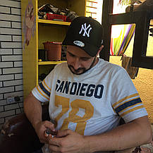 Кепка Бейсболка Чоловіча Жіноча New Era з наклейкою New York Yankees NY Чорна з Білим лого, фото 2