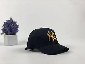 Кепка Бейсболка Мужская Женская New Era New York Yankees NY Черная с Золотым лого, фото 2