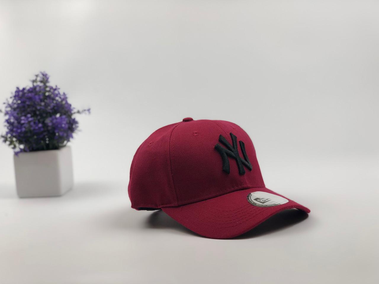 Кепка Бейсболка Мужская Женская New Era с наклейкой New York Yankees NY Бордовая с Черным лого